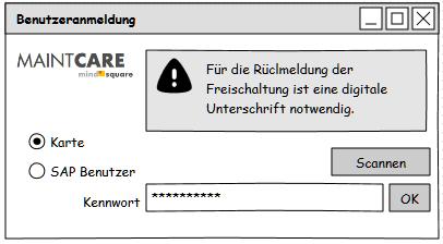 eWCM Benutzeroberfläche Authentifizierung