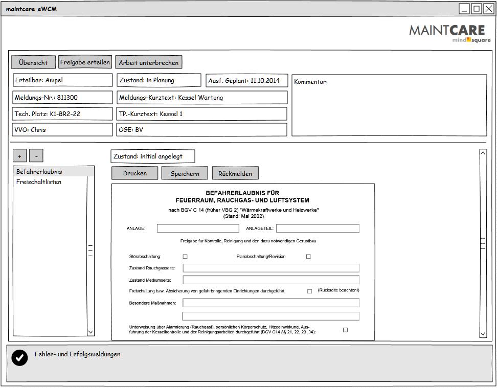 eWCM Benutzeroberfläche Arbeitsvorrat