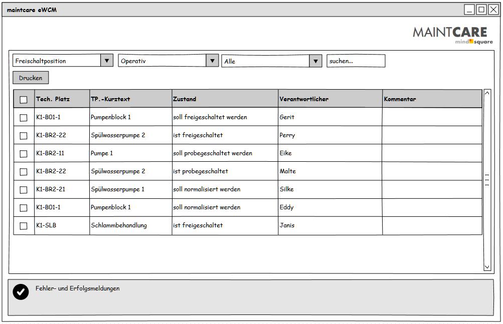 eWCM Benutzeroberfläche Geschaltete Komponenten