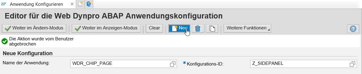Sidepanel Anwendungskonfiguration