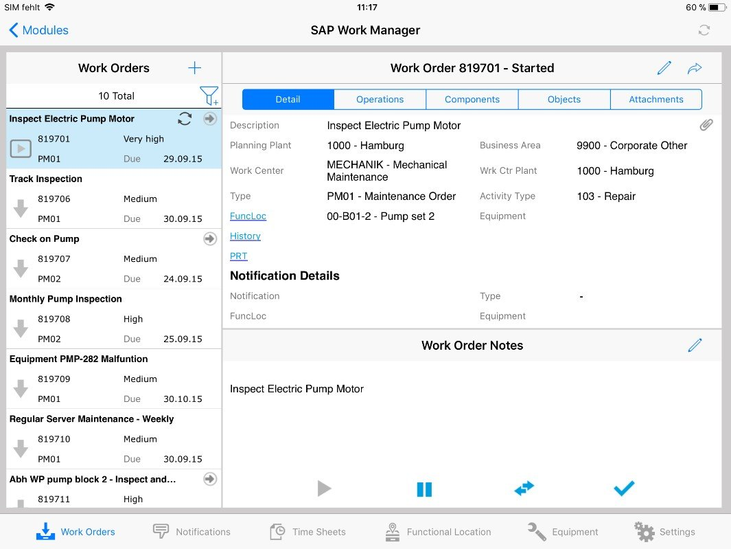 SAP Work Manager - Work Order Notes