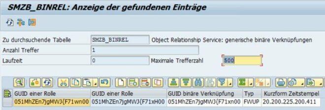 SMZB_BINREL: Anzeige der gefundenen Einträge