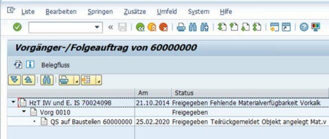 Vorgänger-/Folgeauftrag von 60000000