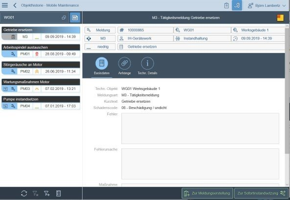 Unsere SAP PM App - Historie